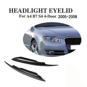 Reflektory z włókna węglowego brwi powieki pokrywa osłonowa naklejka na audi A4 B7 S4 4-Door 2006 2007 samochodów stylizacji