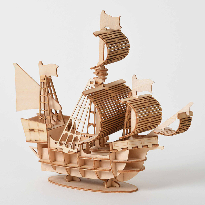 DIY Sailing Ship Baby Toys 3D Wooden Puzzle Toy Laser Cutting Assembly Model Wood Kits Desk Decoration for Children(China)