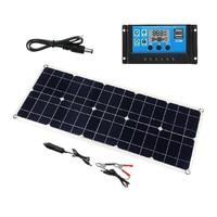 보트 자동차 홈 캠핑 하이킹에 대 한 100 w 18 v 듀얼 usb 태양 전지 패널 배터리 충전기 태양 컨트롤러