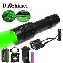 Yakınlaştırma yeşil kırmızı/beyaz/LED el feneri avcı ışığı XM-L Q5 1000 lümen açık/kapalı modu tabanca ile klip uzaktan basınç anahtarı 18650