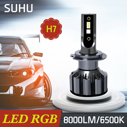 SUHU 2Pcs H7 Car LED RGB 8000LM 6500K Headlight Kit APP Bluetooth Control Mini Fog Light Bulb Lamp Auto Headlamp Car Accessories