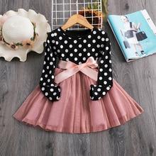 Платье с длинными рукавами для девочек; повседневная детская одежда; От 2 до 6 лет платье-пачка для дня рождения; праздничная одежда; одежда для детей; vestidos