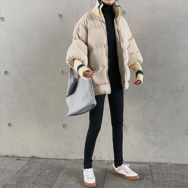 2018 New Style Winter Coat Women's Thick Cotton-Padded Jacket Fashion Corduroy Cotton-padded Clothes Korean-style Versatile Cott