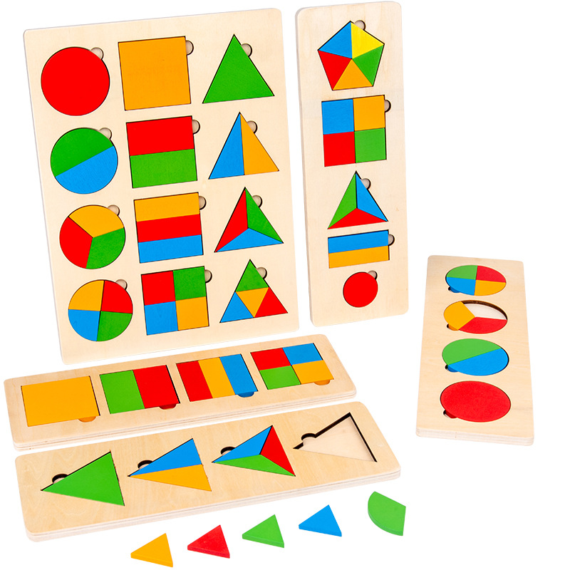 Kids Wooden Geometric Square Shapes Montessori Puzzle Preschool Learning Educational Game Baby Toddler Toys For Children