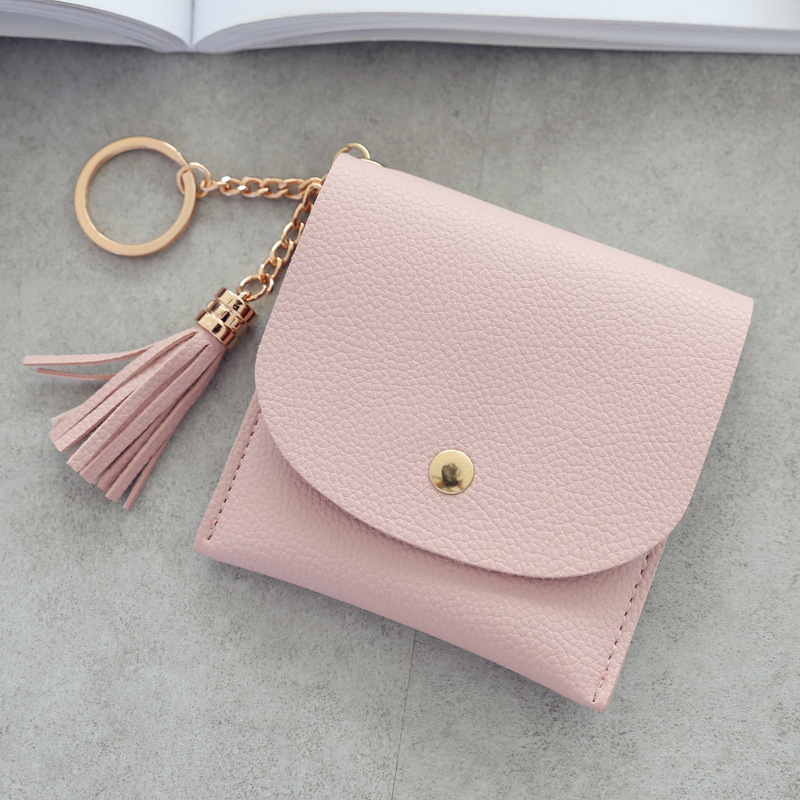 Women Short Wallet Fresh Student Bag Simple Multicard Seat Buckle Coin Purse Chain Leather Wallets Fashion Wallet Women Carteira