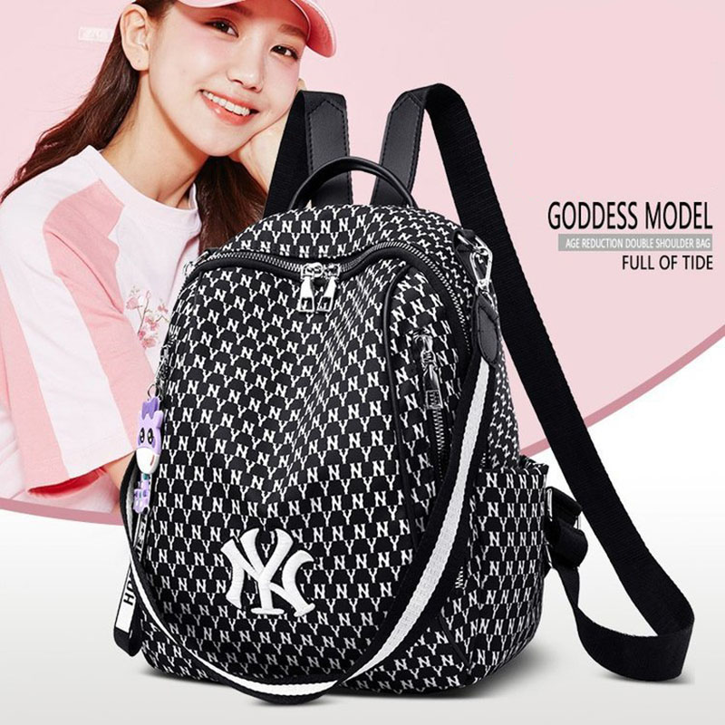 Women Backpack Anti-theft Fashion Wear-resistant Breathable Zipper Female Bagpack Cute Pendant Nylon Designer Bags For Girls