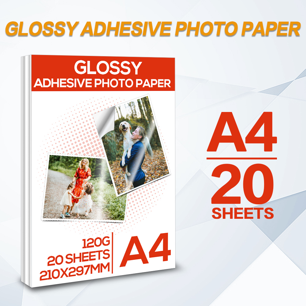 A4 Glossy adhesive photo paper 20 Sheets High Glossy Self Adhesive Inkjet Printing for Inkjet Printer Office Supplies family