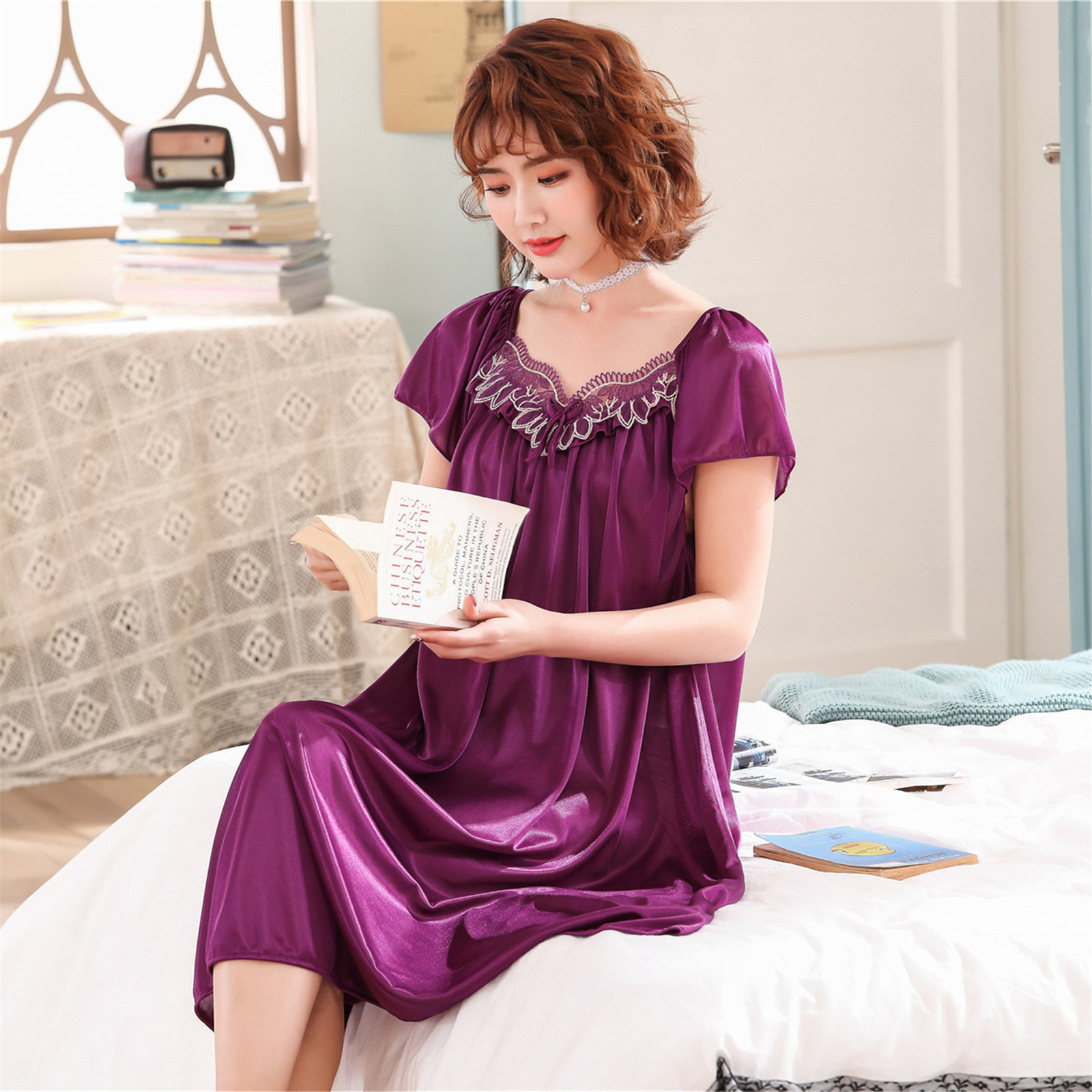New Style Pajamas Women's Summer Short-sleeved Nightgown Ice Silk Summer Sexy Sweet Home Wear Korean-style