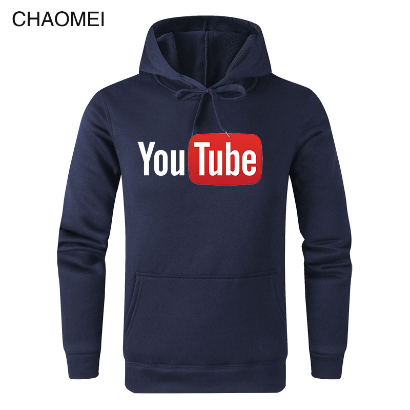 2019 Autumn Winter Funny Male Hoodies Youtube Printed Sweatshirts Men You Tube Hoodie Men Women Streetwear Warm Fleece Hoody C17
