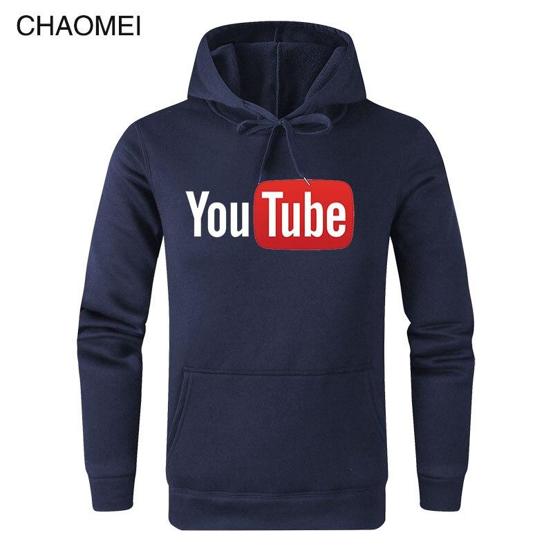 2019 Autumn Winter Funny Male Hoodies Youtube Printed Sweatshirts Men You Tube Hoodie Men Women Streetwear Warm Fleece Hoody C17