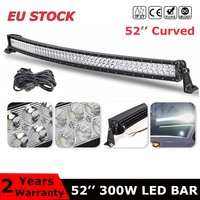 Dual Row 52 inch curved led light bar 300W combo beam For Offroad Tractor Truck 4x4 4WD SUV ATV Vehicle Driving Lamp 12V 24V