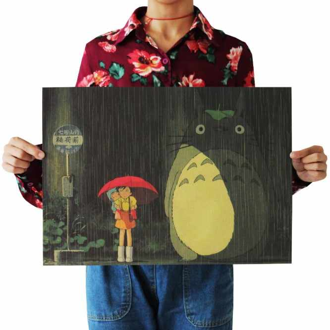 Hayao Miyazaki Animation Poster vintage Classic Anime Cartoon Kraft Paper Poster Painting Wall Stickers Home Decorative