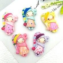 Cabochons de princesse en résine à dos plat pour filles, accessoires en argile polymère simulée, dessin animé, kawaii, 10 pièces