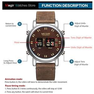 Image 5 - MEGIR dijital saat adam lüks üst marka kuvars saatler erkek deri Relogio Masculino 2019 yeni ordu davul rulo kol saati 2137