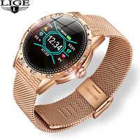 LIGE New women smart watch waterproof sport for iPhone Heart rate blood pressure Monitor fitness tracker smartwatch woman men
