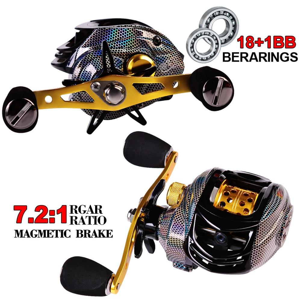 Baitcasting Fishing Reel 18+1 Bearings 7.2:1 Ratio Drag Power 10kg Magnetic Brakes For Bait Casting Reel Ultralight Pesca Fishing Reels  - AliExpress