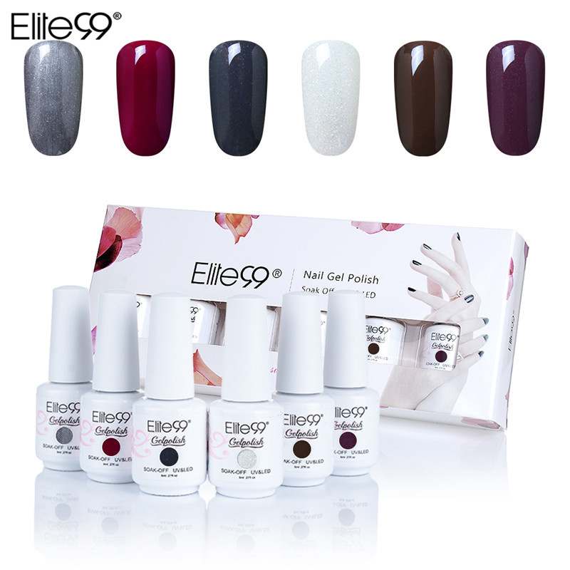 (6PCS) Elite99 Semi-Permanent Enamel Gel Nail Kit Color Gel Coat Pure Nail Lacquer Soak Off Top Coat Base Coat UV LED Manicure