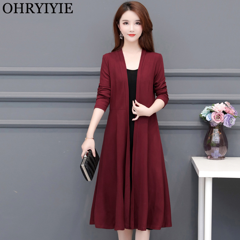 OHRYIYIE Plus Size 5XL Wine Red Long Cardigan Sweater Women 2020 New Spring Autumn Casual Thick Knitted Sweater Female Coat Tops