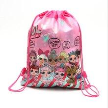 Lol surpresa bonecas genuíno pacote bolso diy tema decoração festa de aniversário presente saco de armazenamento não tecido tecido saco de compras