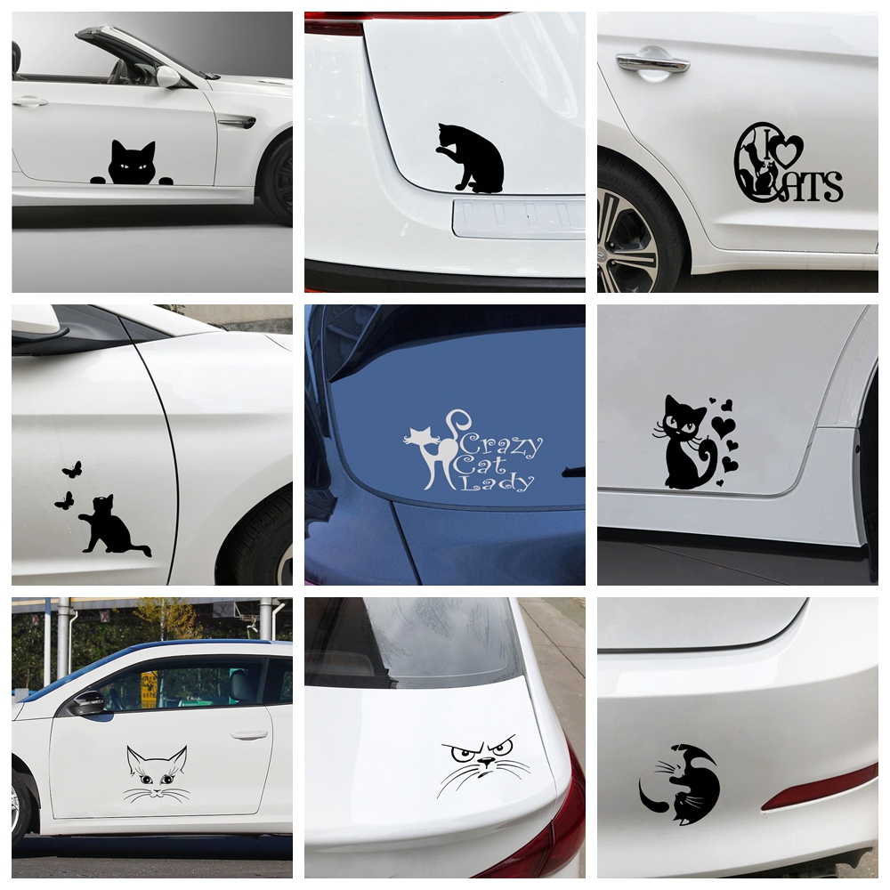 Cartoon Cat Car Stickers Waterproof Removable Car Decal Stickers For Car Body And Window Car Accessories Skin Decoration