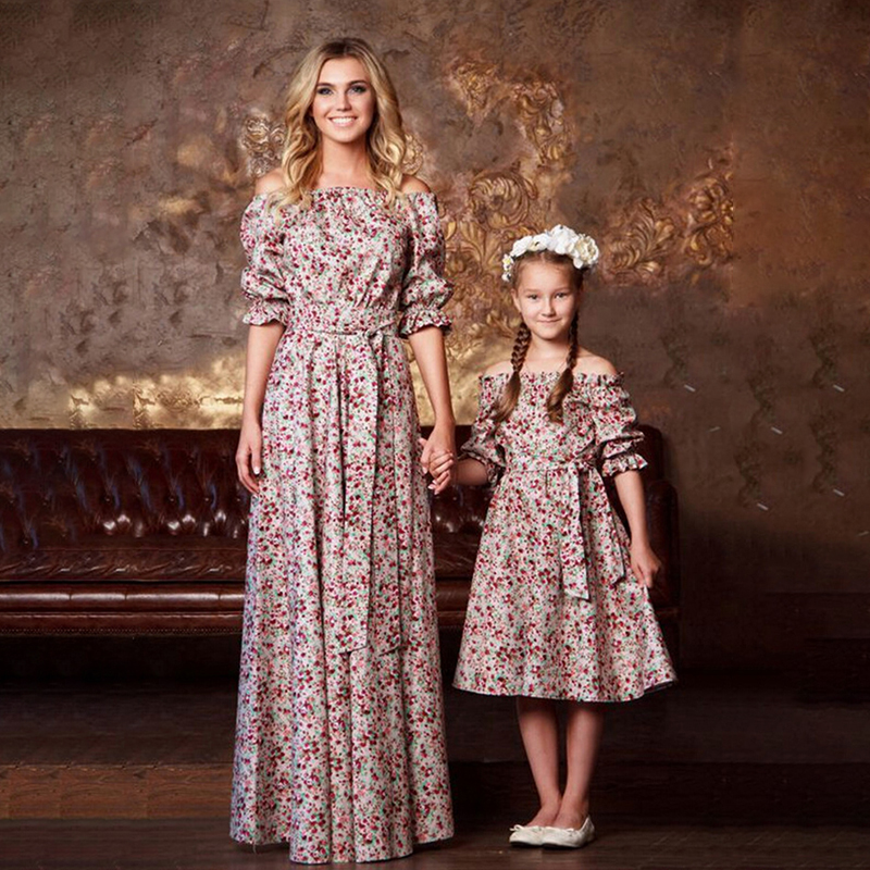 Summer Family Floral Matching Dress Outfit Mother And Daughter Girl Flower Half Sleeves Dress Cute Princess Clothes Family Look