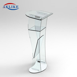 Cheap Podium Modern Church Reception Desk Acrylic Pulpit Designs Aklike Led Glass Furniture Pulpit For Sale Lectern For Speech