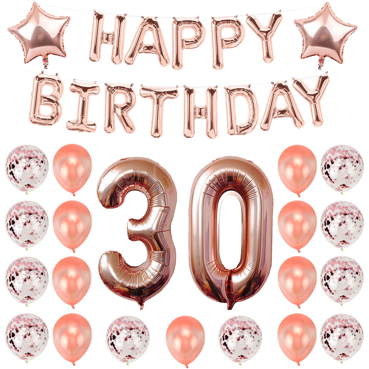 30th 40th 50th 60th Birthday Rose Gold Balloons Happy Birthday Party Decorations Adult Men Woman 30 40 50 60 Years Birthday