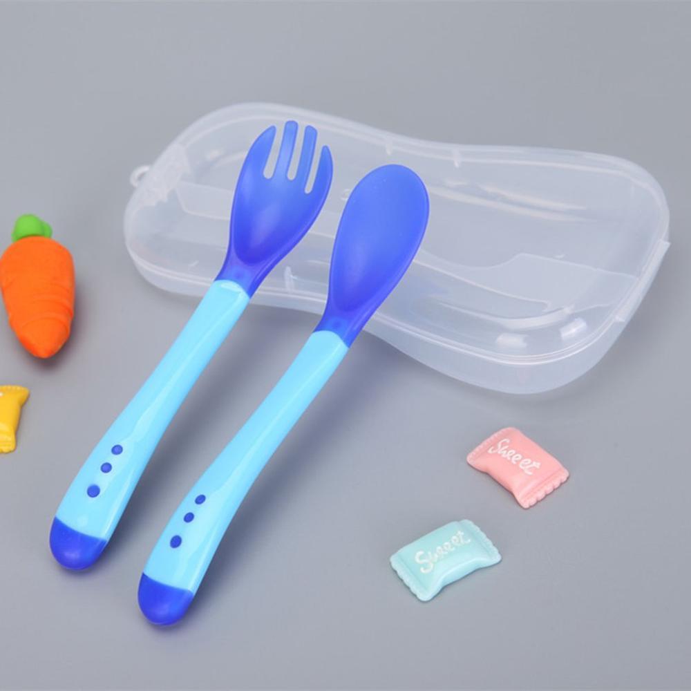 1 шт. детская посуда для кормления ложка с датчиком температуры вилка безопасная силиконовая детская посуда ложки для кормления 6 цветов - Цвет: Spoon Fork Set 1