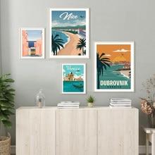 Póster impreso en Hd, pintura artística de paisaje de ciudades de viaje Vintage de Croacia, Lisboa, Niza, Francia, Venecia, Italia, póster de arte de pared