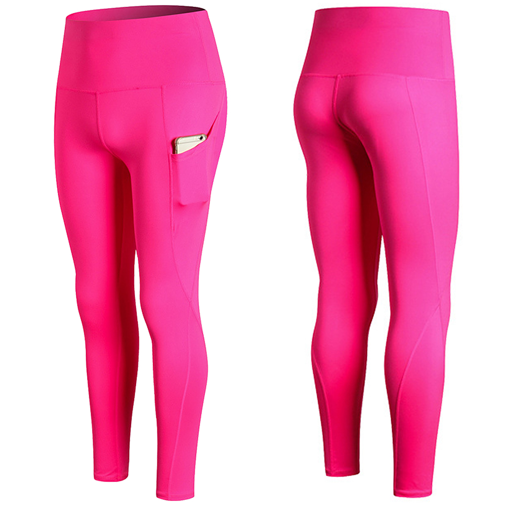 Woman High Waist Yoga Pants Quick-dry Sports Pants Yoga Leggings Workout Pants with Pocket Light Blue XXL Running pants 7