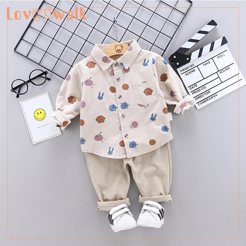 Jongens Sweatshirt Peuter Jongen Shirt Cartoon Print Blouse 2 stuks Shirts + Broek Past Babykleding Sets jongens kleding