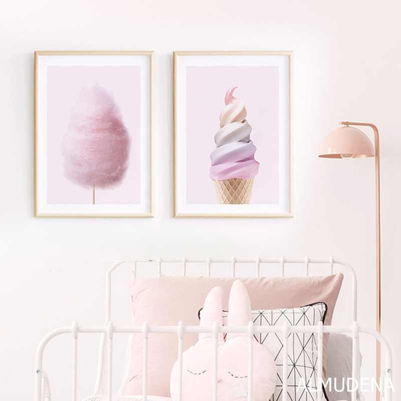 Nordic Posters and Prints Pink Ice Cream Cotton Candy Canvas Painting Modern Wall Picture for Girl Room Dessert Shop Decoration