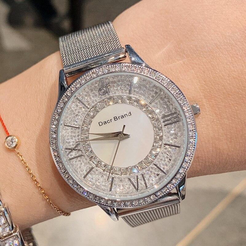 DACR High Quality Fashion Waterproof Crystal Women Watches Quartz Designer Top Brand Luxury Ladies Watch Gift Wristwatch