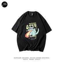 AIOPESON Original Design Printed Male T-shirt Oversized T-shirt Streetwear 100% Cotton T-shirt New Summer Cartoon Harajuku