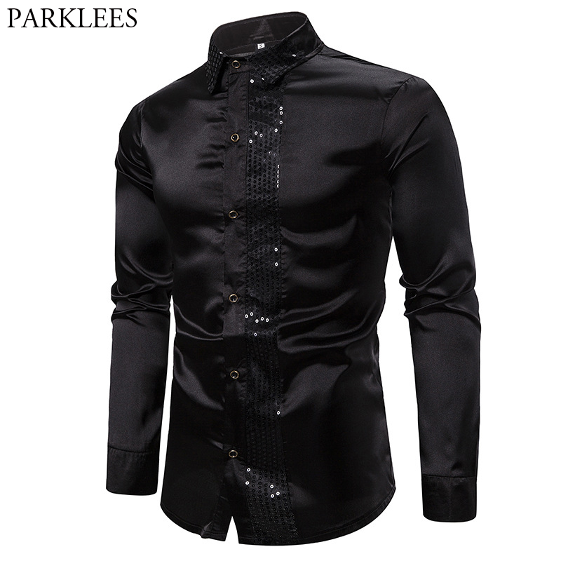 Sequin Patchwork Black Silk Shirt Men 2019 Casual Smooth Long Sleeve Glitter Dress Shirts Mens Club Stage Disco Prom Chemise
