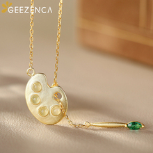 925 Sterling Silver Gold Plated White Jade Lotus Root Slice Pendant Necklaces Chokers Fine Jewelry For Women Original Design buddha jade pendant unisex 2018 new top quality fo jade for men women pendants jewelry fine necklaces good luck gift