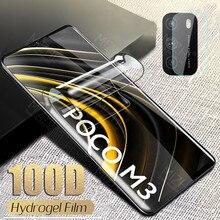 Filme macio do hidrogel de 100d para o protetor de tela de poco m3 para xiaomi poco m3 m 3 3 m pocom3 filme de vidro da lente da câmera