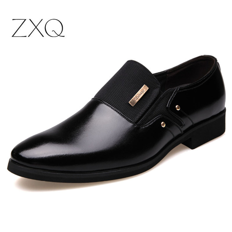 2019 New Fashion Slip On Leather Pointed Toe Men Dress Shoes Business Wedding Oxfords Formal Shoes For Male Big Size 38-47