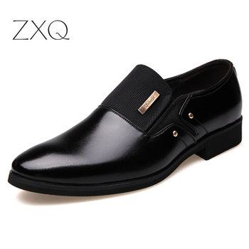 2020 New Fashion Slip On Leather Pointed Toe Men Dress Shoes Business Wedding Oxfords Formal Shoes For Male Big Size 38-47 2016 new arrival top quality men s slip on basic oxfords real cowhide leather formal wedding dress shoes men sapato masculino 46