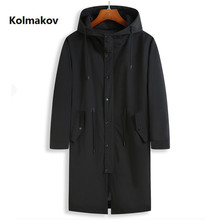 2020 spring Long style coat men's High quality casual trench coat , casual hoood