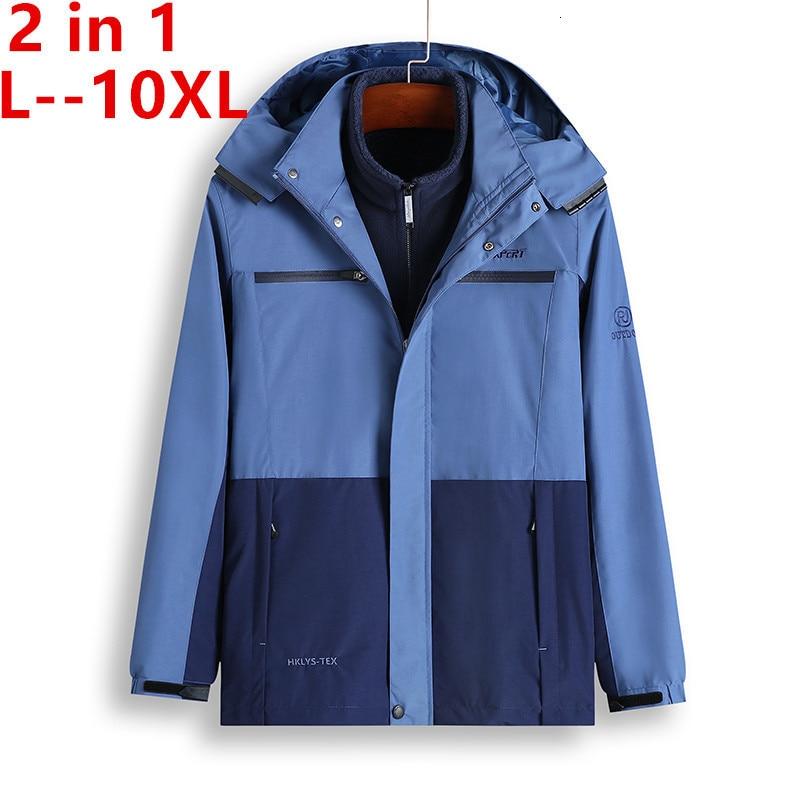 10XL 8XL 6XL 5X New Autumn Winter Warm Jacket Men Outwear 2 In 1 Parkas Hood Coat Windproof Thermal Thick Soft Shell Jacket Male