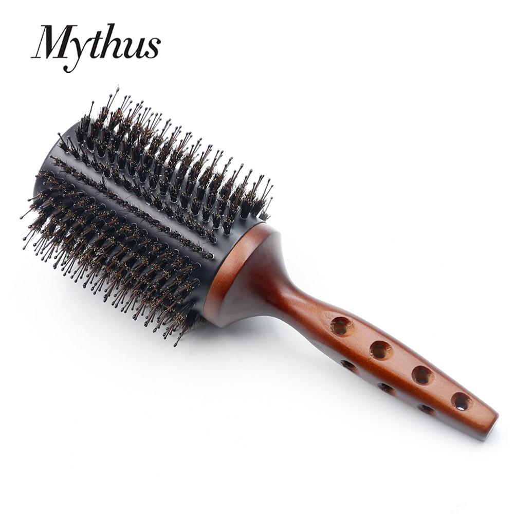 Mythus Big Size Wood Round Hairdressing Brush Boar Bristle Hair Professioanl Brushes Styling Hairbrush