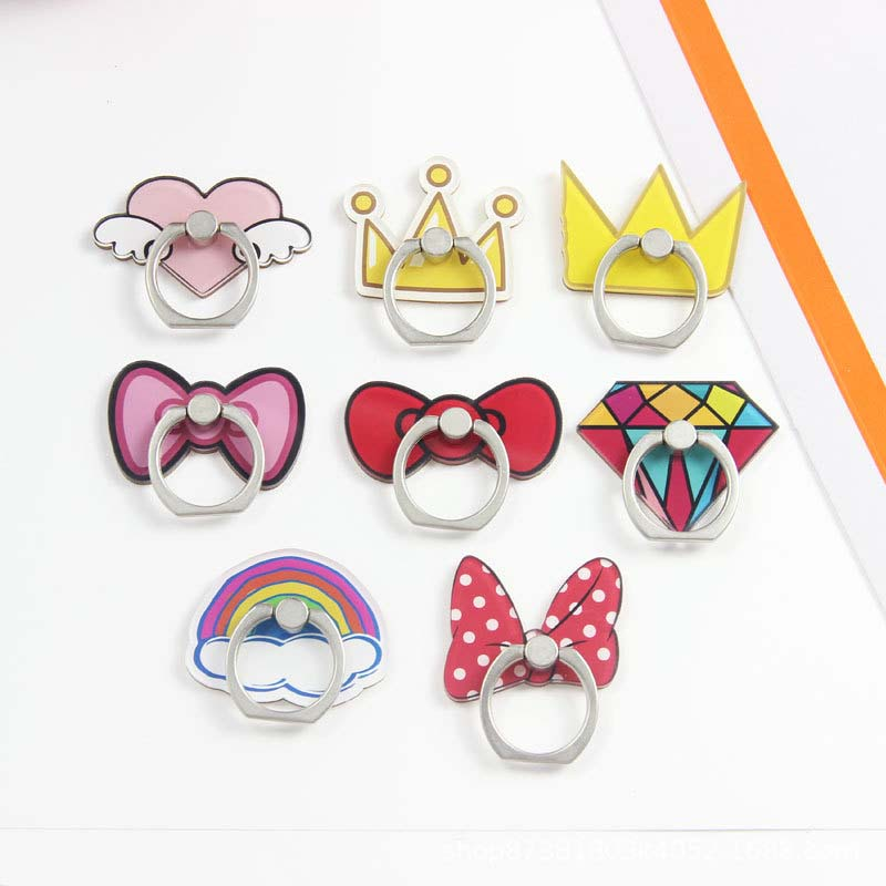 Universal 360 Degree Cartoon Bows And Crowns Plastic Pattern Mobile Phone Finger Ring Holder For Iphone Samsung All Phone