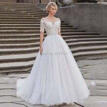 Krótki suknia balowa z rękawami suknie ślubne koronkowe aplikacje Off the Shoulder Vestido De Noiva suknie ślubne sąd pociąg Illusion