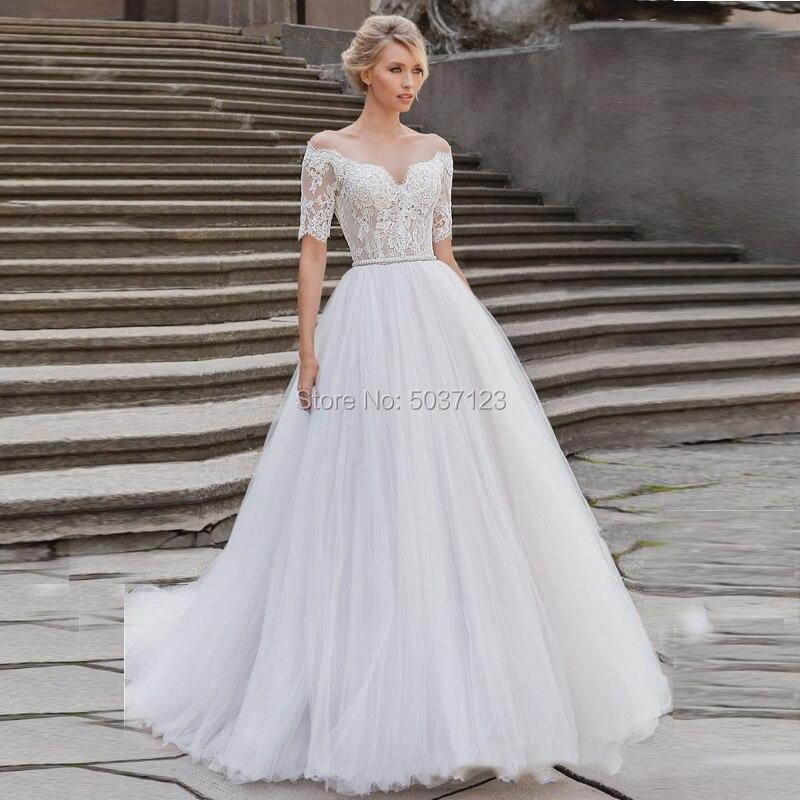 Short Sleeves Ball Gown Wedding Dresses Lace Appliques Off The Shoulder Vestido De Noiva Bridal Gowns Court Train Illusion