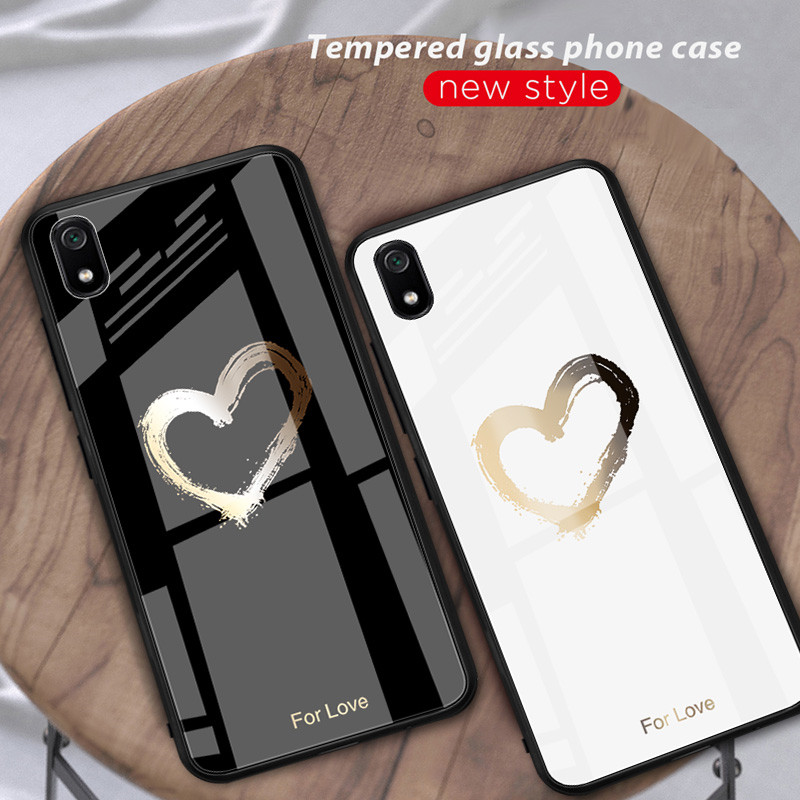 Stained Luxury Glass Case For Xiaomi Redmi K20 7A Note 5 6 7 Pro Mi Mix 3 9T 8 9 Pro 5X Pocophone F1 Tempered Glass Lovers Cases