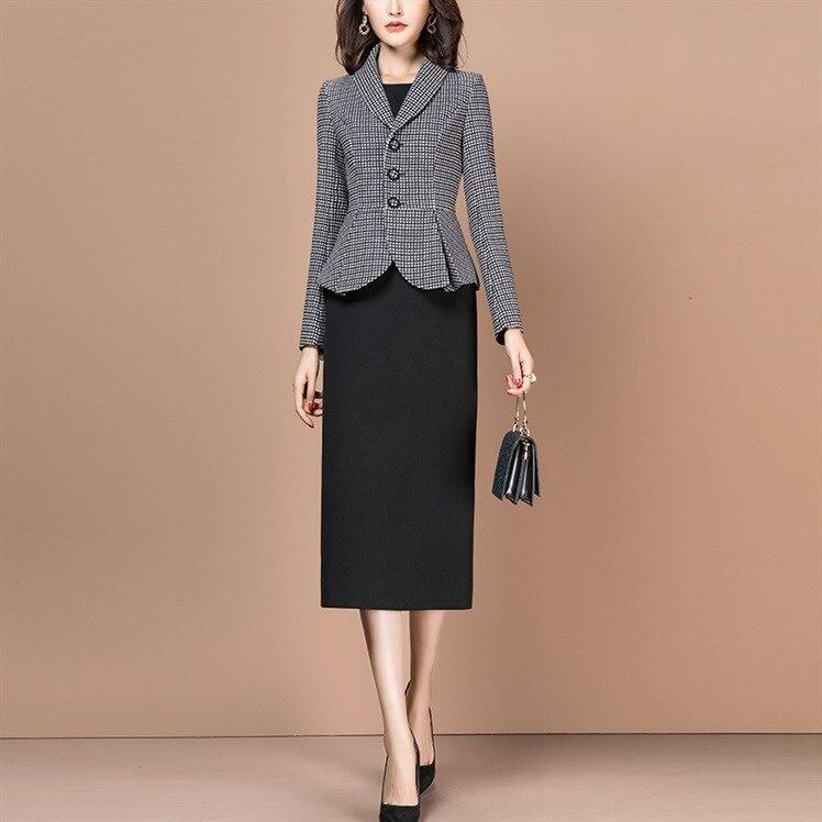 Frauen Anzüge Elegante Büro Damen Formale Arbeit Business Tragen Blau Floral Blazer Jacke Plus Größe Knie Länge 2 Stück Set kleidung