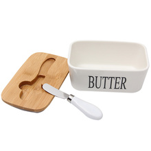 Nordic Butter Sealing Box Ceramic Plate White with Wood Lid and Knife Cheese Storage Tray Dish