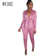 WUHE Sexy Deep V Neck Ruffle Top + Skinny Pants Long Sleeve Elegant Bodycon Two Pieces Sets Slim Office Ladies Fashion Jumpsuits