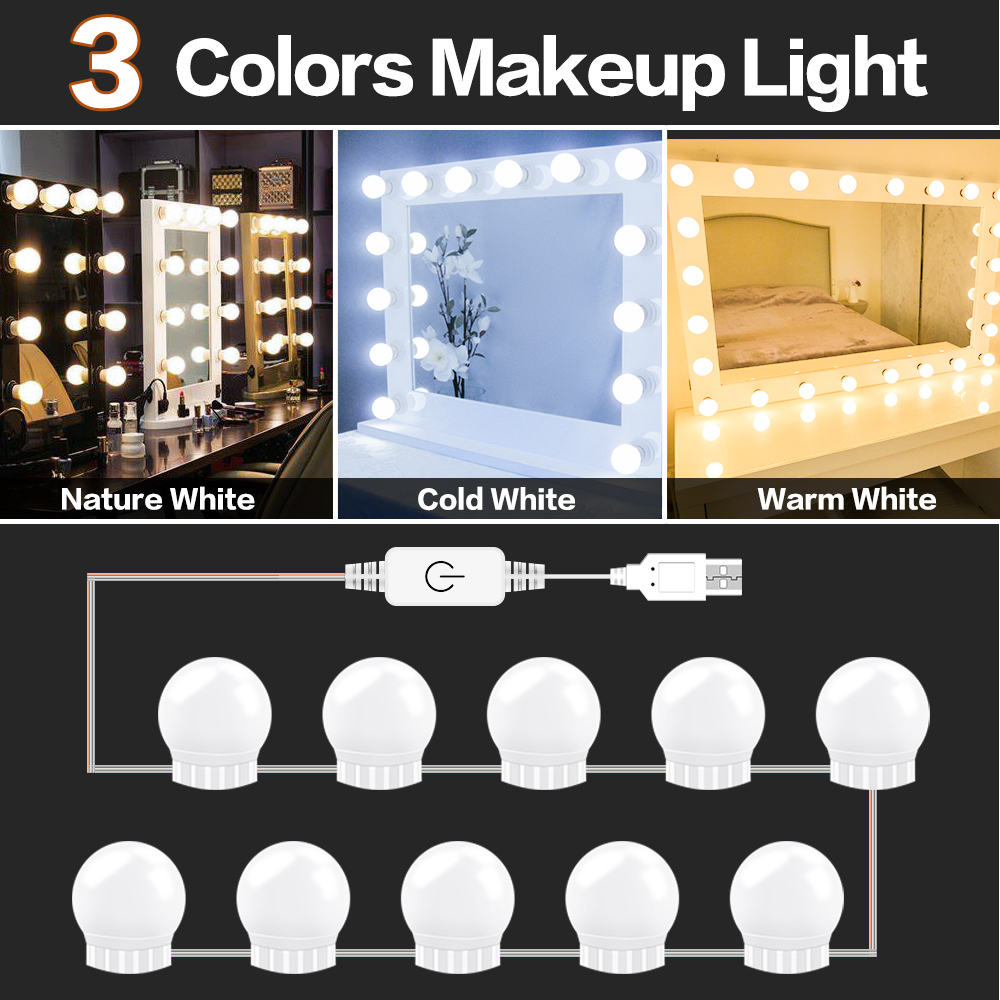 3 Mode Colors LED Makeup Lamp Wall Light 10 14 Bulbs Kit 12V USB Dressing Table Stepless Dimmable Hollywood Vanity Mirror Light